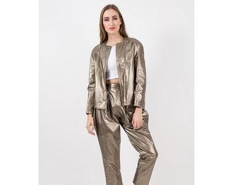 Vintage gold leather suit / 1980s metallic bronze 2 piece jacket and pants set / Reversible / Jodhpur style fit pants / XS
