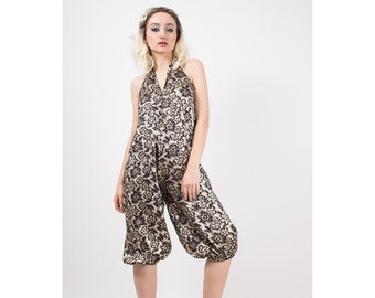 Vintage silver jumpsuit / 1970s metallic brocade / Balloon genie pants / Halter neck / Harem pants jumpsuit /  Knee length / S M