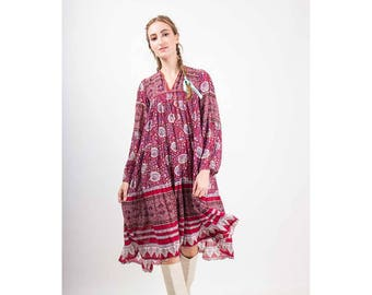 Vintage India cotton gauze dress / 1960s 1970s rose block print trapeze tent smock dress / XS