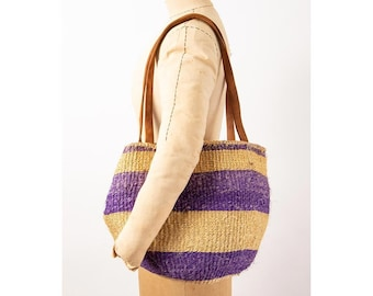 Vintage Sisal market tote / 1970s 1980s Purple stripe woven straw and leather bag
