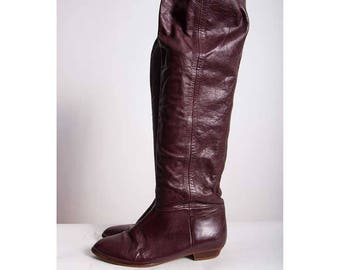 Vintage leather over the knee boots / 1980s burgundy leather tall flat boots / Thigh high / Convertible scrunchy boots / size 6