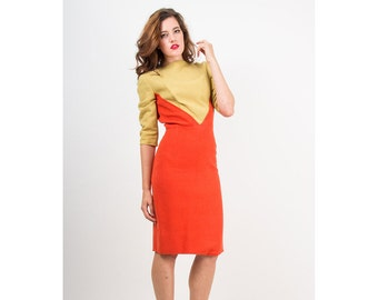 Vintage color block dress / 1960s mod wool day dress / Mustard and Tangerine S