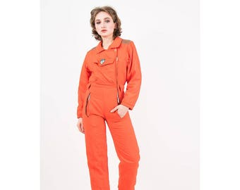 Vintage ski suit / 1980s Dario Talenti Post Card Electric orange snow suit / Neon day glo / Insulated puffy winter jumpsuit / S