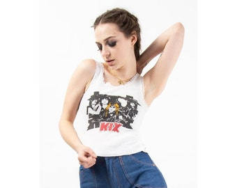 Vintage KIX lace trimmed camisole band T shirt / 1980s rock T / XS