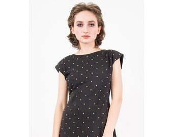 Vintage studded dress / 1980s Black cotton mini covered in studs / Bodycon tube dress with low back / M