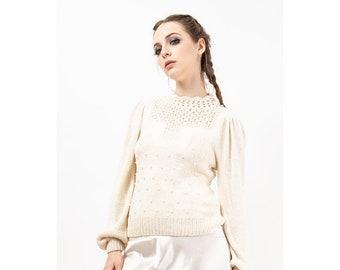 Vintage white knit embellished angora blend sweater / 1980s puffed sleeve pullover knit / S M