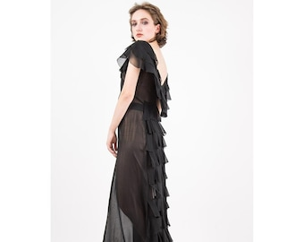 1930s evening gown / Vintage sheer black chiffon ruffle dress / Dramatic low back tiered train S