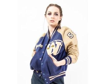 Vintage leather and wool varsity jacket / 1950s Oversized W letter football coat / Layne
