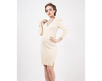 Vintage St. John Knit dress / 1970s Ivory white Santana knit bodycon hourglass fit / Rhinestone bedazzled cutouts / Puff sleeve / S M