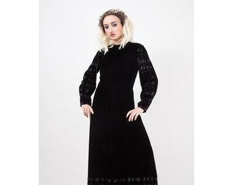 Vintage GIVENCHY / 1960s 1970s Maxi dress / Evening gown black velvet devore burnout velvet M