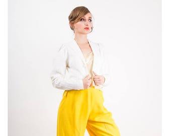 Vintage Laura Ashley / 1970s White cotton seersucker crop bolero jacket small