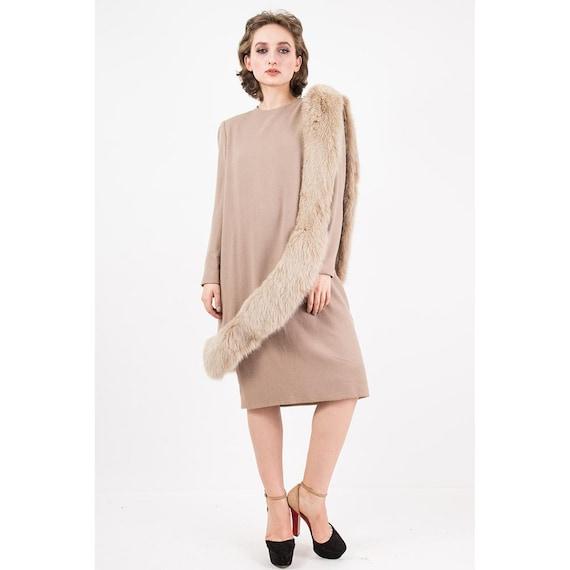 Vintage Travilla fox fur dress / 1980s wool sheat… - image 7