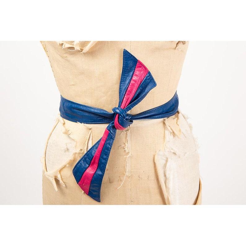 Vintage leather obi style belt / 1980s royal blue and fuchsia image 0