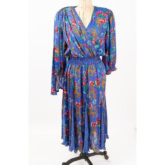 Vintage Diane Freis dress / 1980s Royal blue shee… - image 4