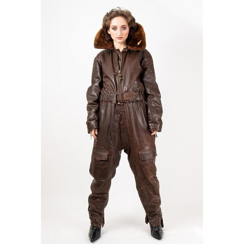 Vintage WWII 1940s US Navy Leather Flight Suit Colvinex tin image 0