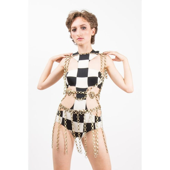Vintage body chain / 1960s book chain harness and
