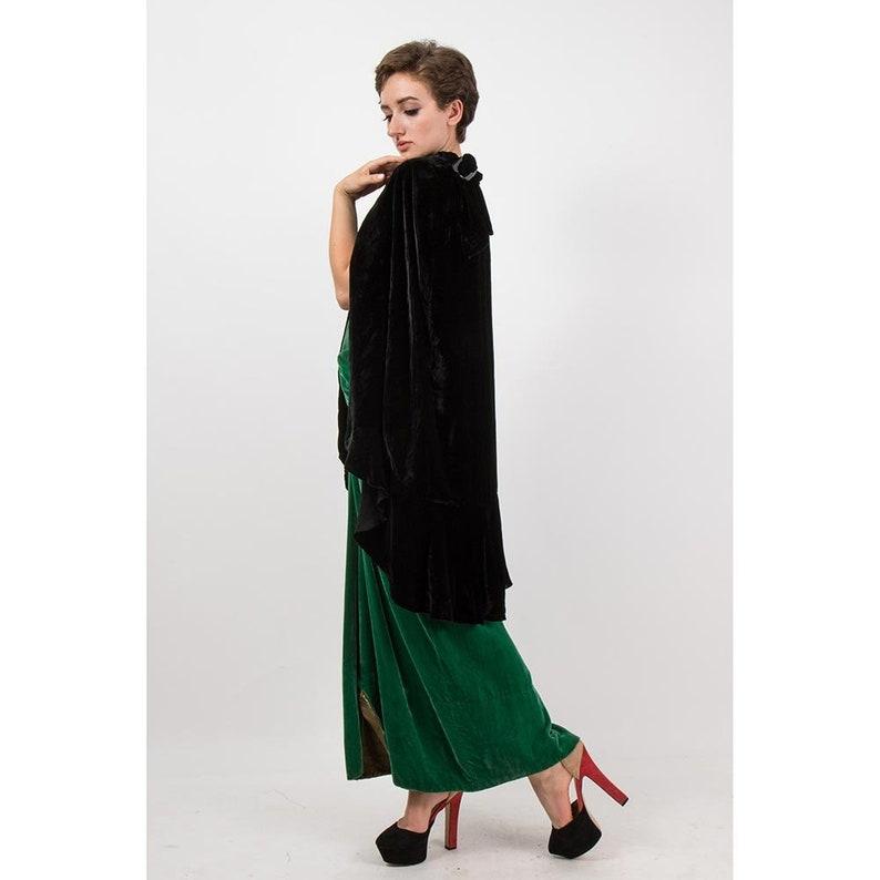 74fdf1c72a5 1920s silk velvet cape   Vintage antique black bias ruffle