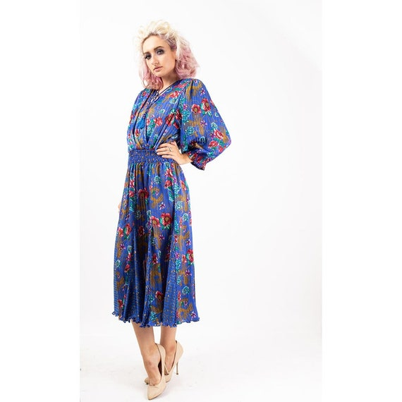 Vintage Diane Freis dress / 1980s Royal blue shee… - image 2