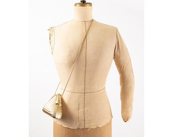 Vintage gold hard shell Minaudière purse / 1980s matte metallic rhinestone crossbody