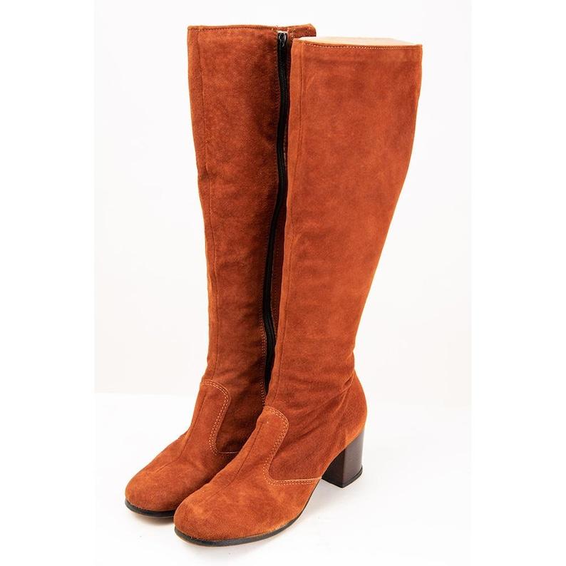 Vintage Hush Puppies suede go go boots / 1970s Rust brown knee image 0