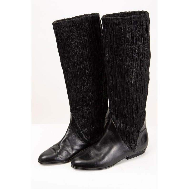 Vintage knee high leather boots / 1980s black pleated ruched image 0
