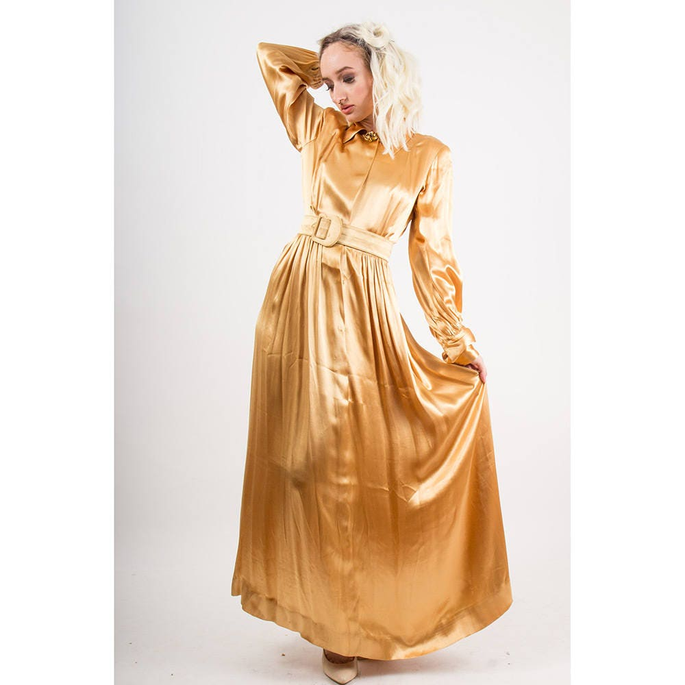 1940s Dressing Gown: 1940s Dress / Vintage Gold Rayon Satin Maxi Evening Gown