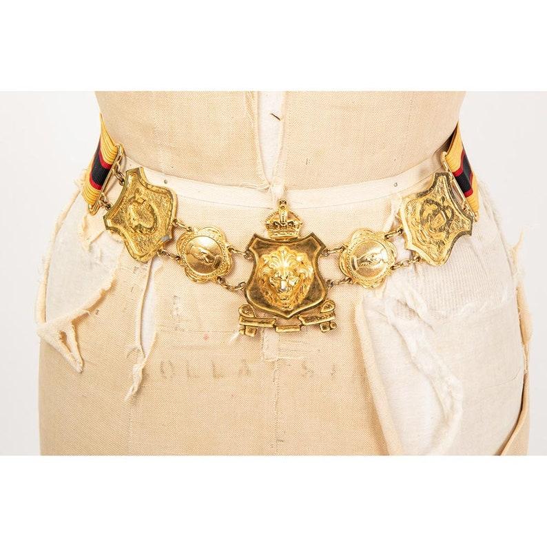 Vintage Accessocraft NYC lion's head heraldic belt / 1970s image 0