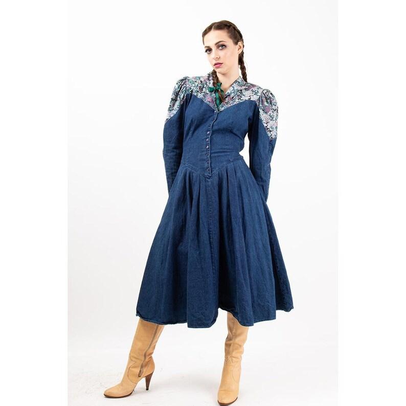 Vintage denim prairie dress / 1980s puff sleeve / Button front image 0