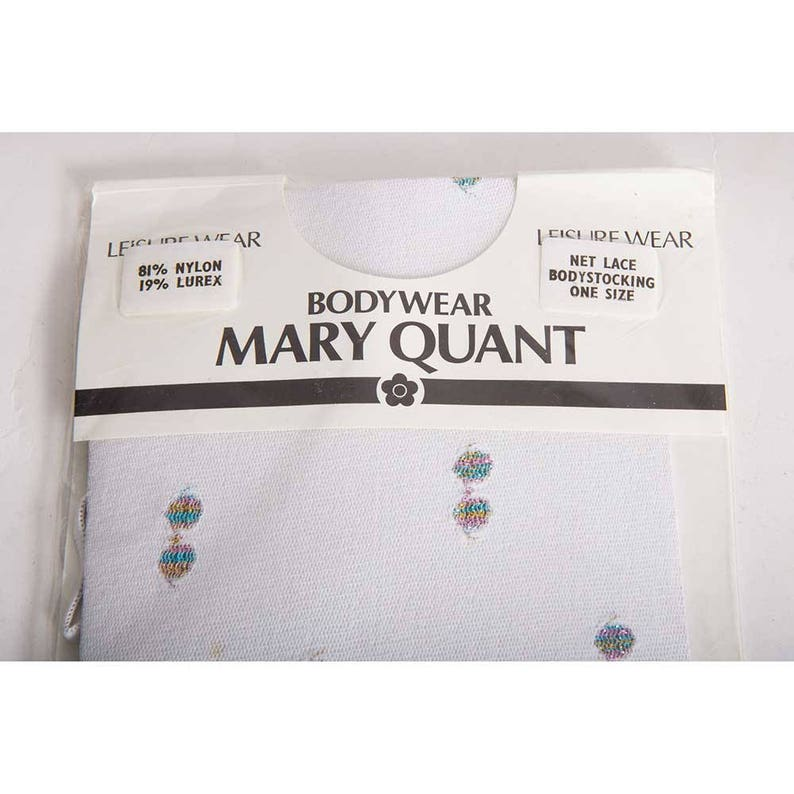 Mary Quant  Vintage mesh bodysuit leotard  1980s white sheer net lace body stocking  Deadstock new in package XS