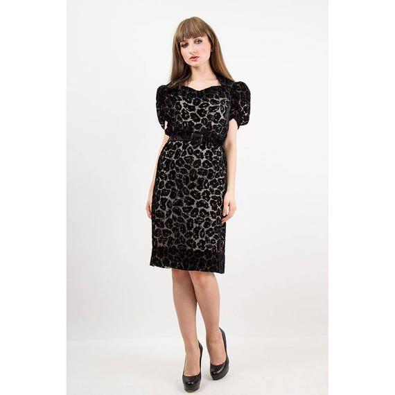 1930s dress / Vintage 30s Black silk velvet burno… - image 6
