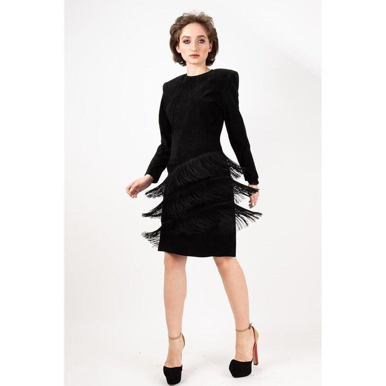 Vintage black suede fringe dress / 1980s Pia Rucci long image 0