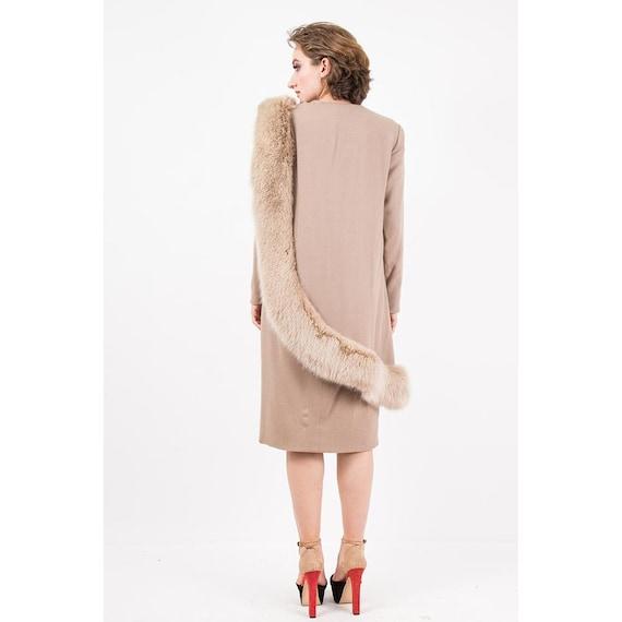 Vintage Travilla fox fur dress / 1980s wool sheat… - image 8