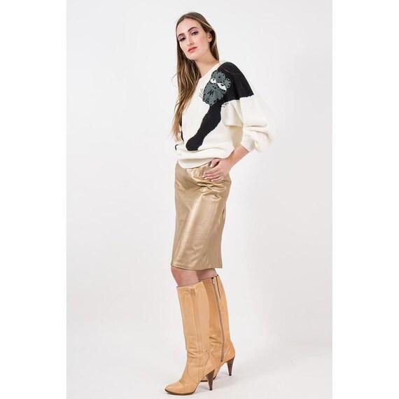 Vintage gold leather pencil skirt / 1980s metallic