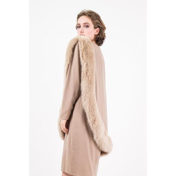 Vintage Travilla fox fur dress / 1980s wool sheat… - image 5