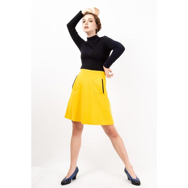 Vintage Mod mini dress / 1960s Mock neck fit and flare mini  S image 0