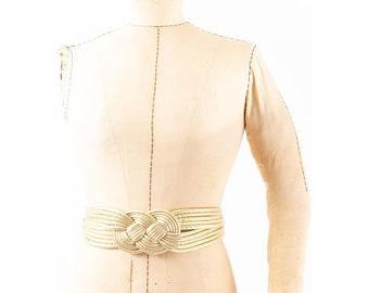 Vintage 1980s gold lame knotted soft sculpture obi inspired belt /  M