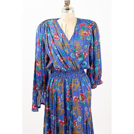 Vintage Diane Freis dress / 1980s Royal blue shee… - image 8