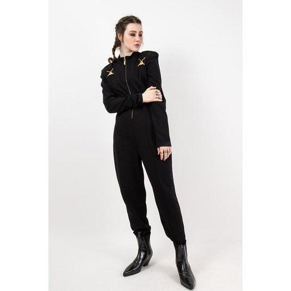 Vintage black Cache stirrup jumpsuit / 1980s Spand