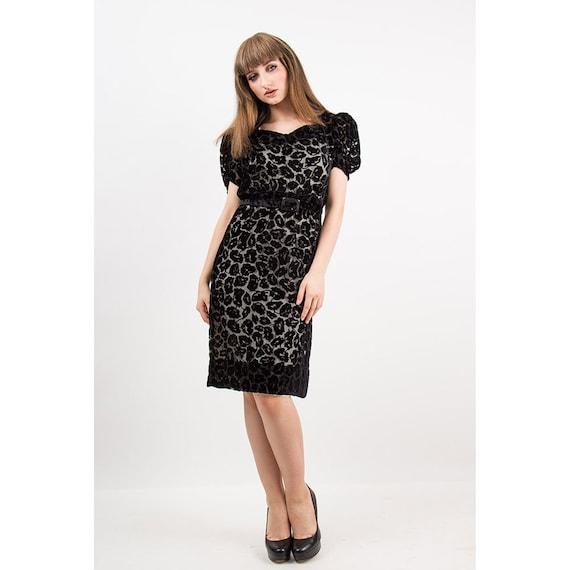 1930s dress / Vintage 30s Black silk velvet burnou