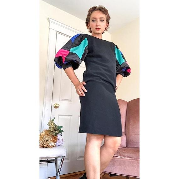Vintage puff statement sleeve dress / 1980s Rober… - image 2