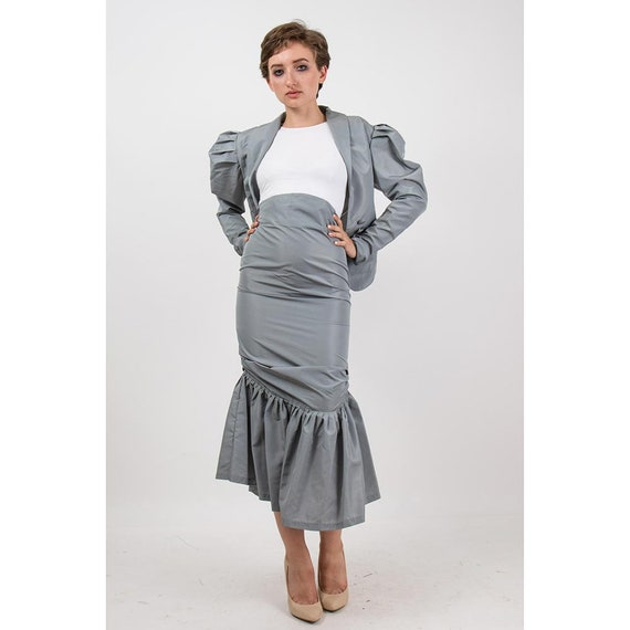 Vintage Norma Kamali / 1980s 2 piece skirted suit