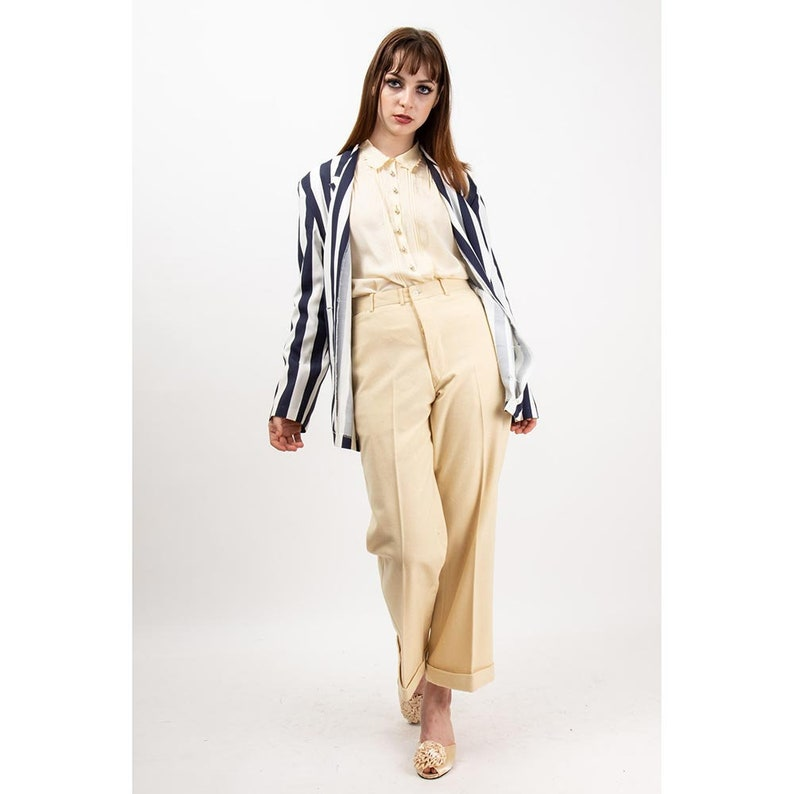 Vintage striped boating blazer / 1980s navy blue and white image 0