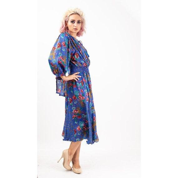 Vintage Diane Freis dress / 1980s Royal blue shee… - image 6