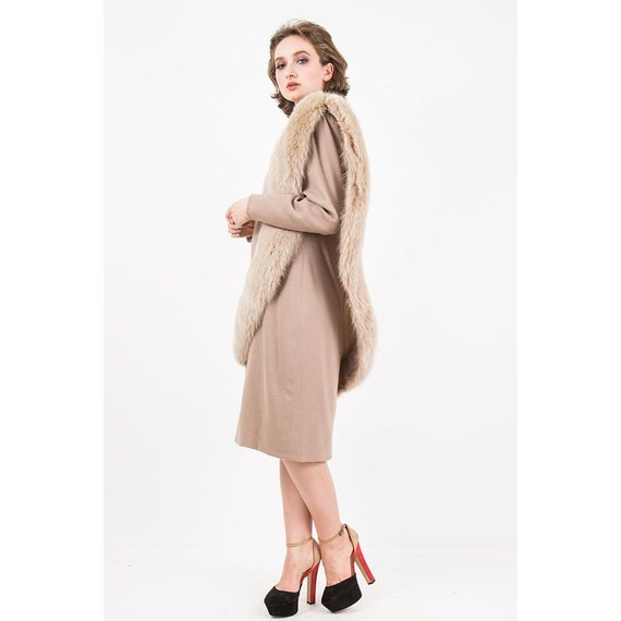 Vintage Travilla fox fur dress / 1980s wool sheat… - image 4