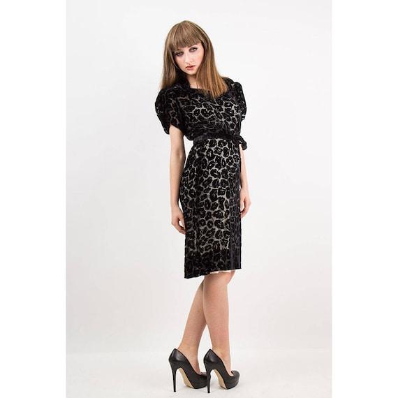 1930s dress / Vintage 30s Black silk velvet burno… - image 4