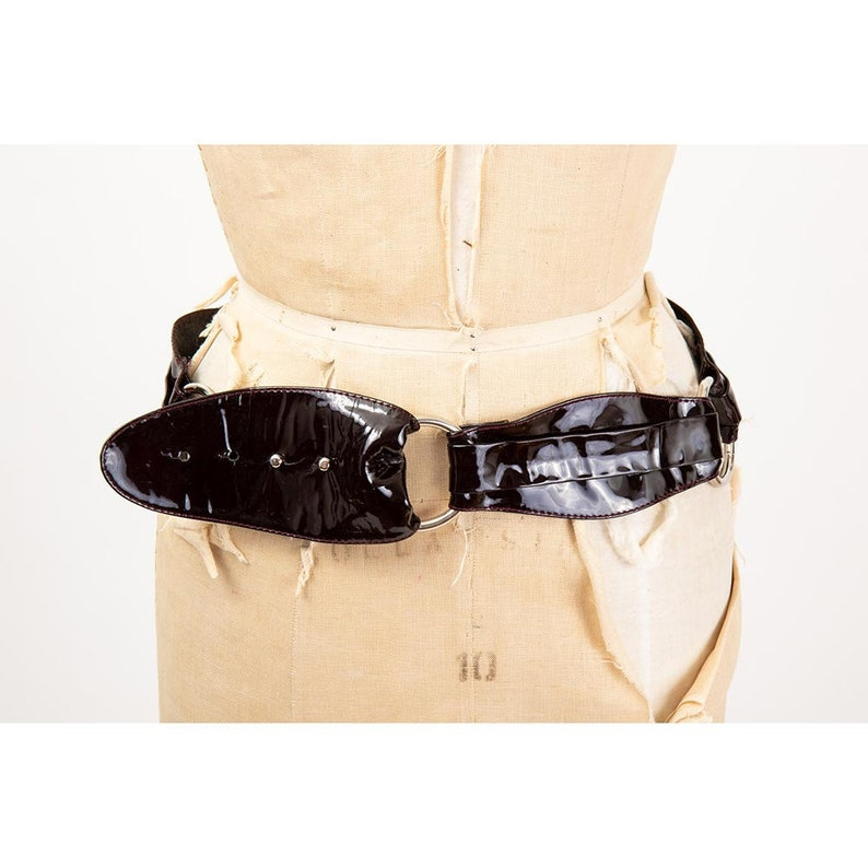 Vintage Streets Ahead belt / 1980s patent leather glam rock image 0