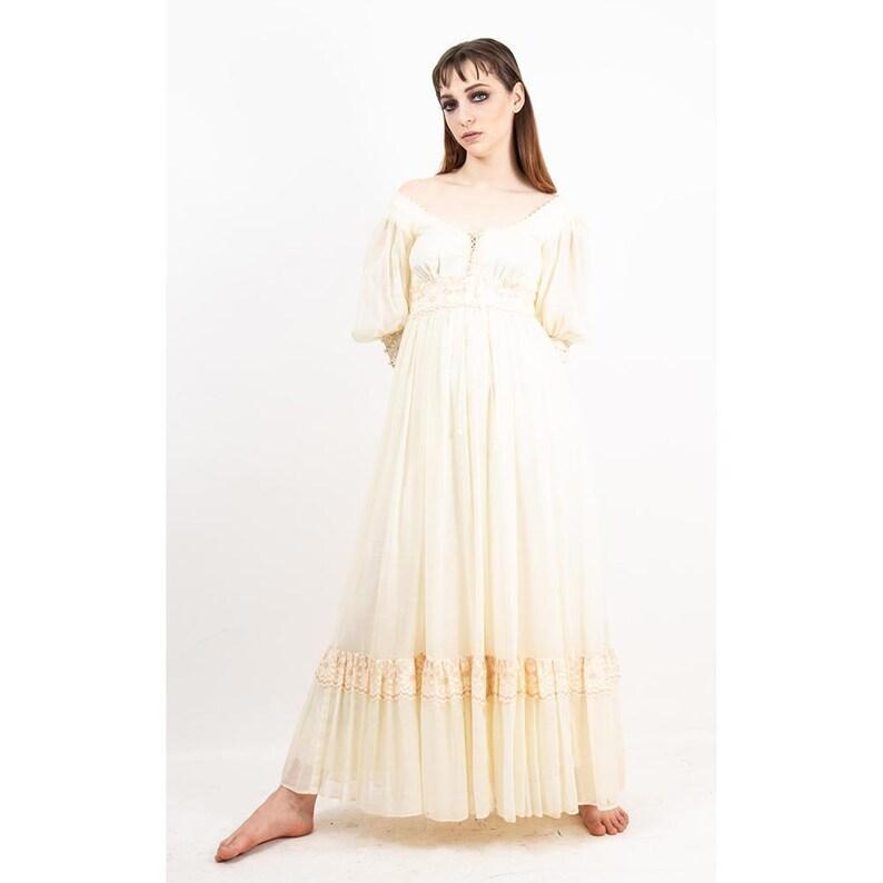 Vintage Gunne Sax maxi dress / 1970s cream white gauze and image 0