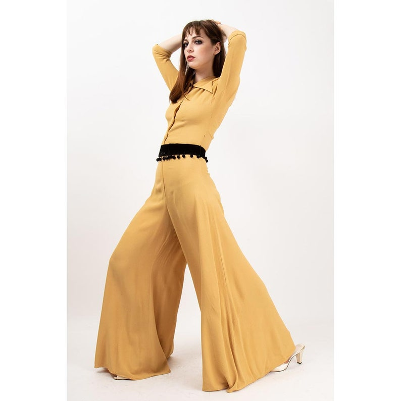 1940s jumpsuit / Vintage yellow ocher rayon crepe wide leg image 0