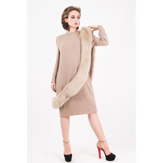 Vintage Travilla fox fur dress / 1980s wool sheat… - image 1