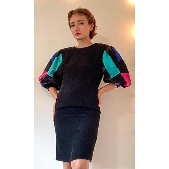 Vintage puff statement sleeve dress / 1980s Rober… - image 9